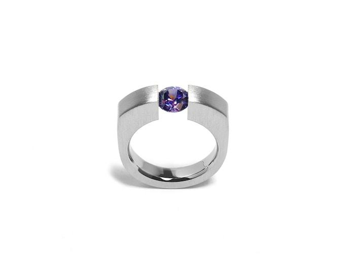 Modern Amethyst Engagement Ring Tension Set Steel