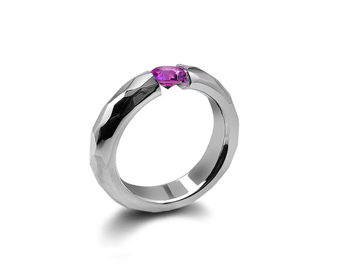 Pink Sapphire Tension Ring Hammered Stainless Steel Mounting