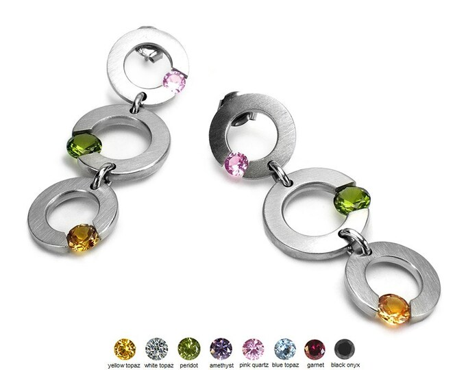 3 Multi Color Gemstones Tension Set Drop Earrings