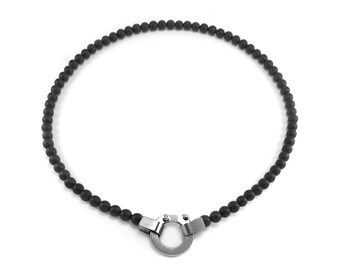 Obsidian Bead and Stainless Steel Necklace