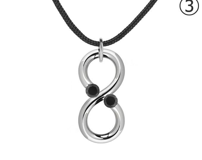 Black Onyx Modern Infinity Pendant Tension Set Steel Stainless
