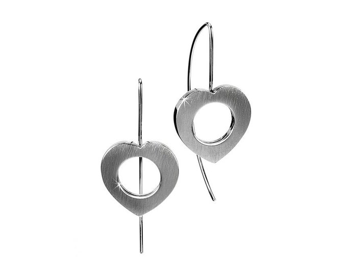 Open Heart Drop Earrings Modern Stainless Steel Design