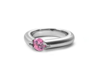 Round Pink Sapphire Ring in Stainless Steel