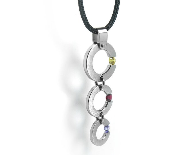 Tension Set Three Gemstones Necklace in Stainless Steel
