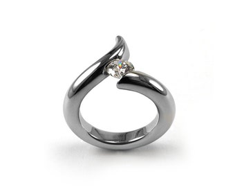 1ct White Sapphire Bypass Swirl Tension Set Ring in Stainless Steel by Taormina Jewelry