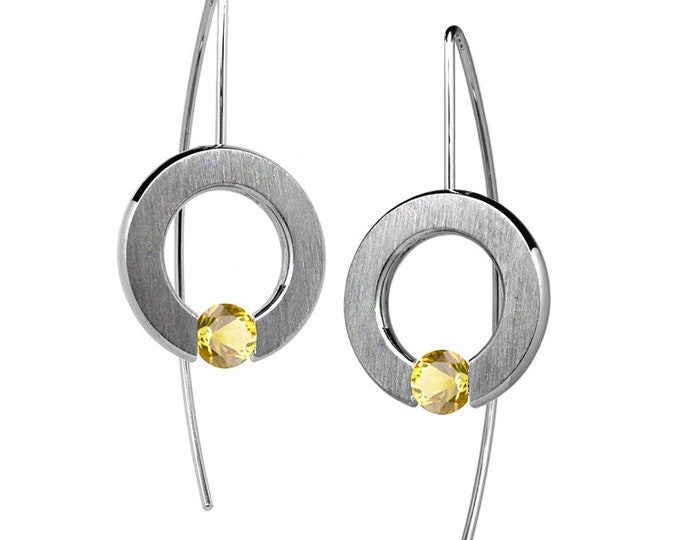 Tension Set Yellow Sapphire Drop Earrings in Stainless Steel by Taormina Jewelry