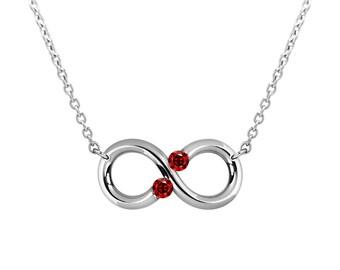 Taormina Infinity Necklace Garnet Tension Set Steel Stainless