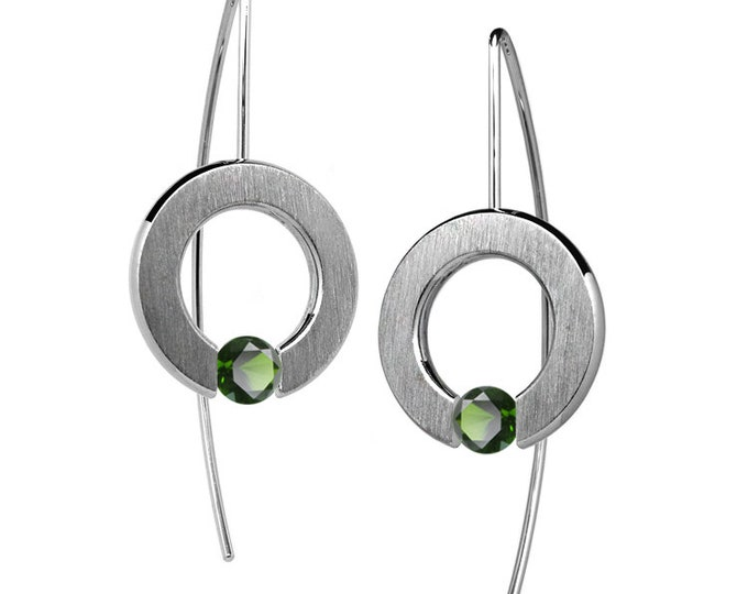 Tension Set Peridot Round Drop Earrings in Stainless Steel by Taormina Jewelry