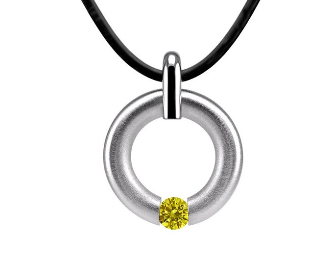 Yellow Sapphire Topaz Two Tone Tension Pendant Stainless Steel