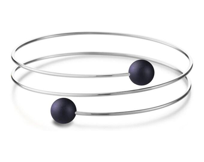 Obsidian triple wire bracelet in Stainless Steel Multi row by Taormina Jewelry
