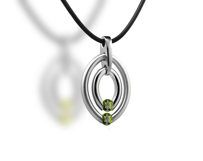 Two Stone Peridot Tension Set Double Birthstone Circle Pendant