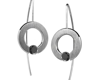 Black Diamond Tension Set Drop Earrings Stainless Steel
