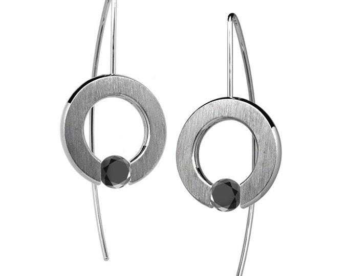 Black Diamond Tension Set Drop Earrings Stainless Steel by Taormina Jewelry