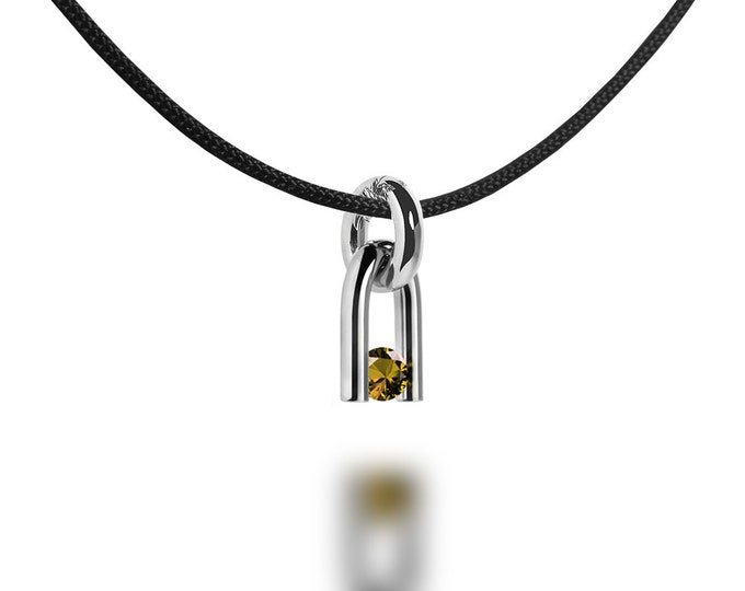 U Shaped Pendant with Tension Set Yellow Topaz in Stainless Steel