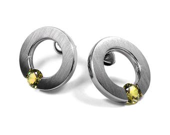Yellow Sapphire Stud Post Tension Set Earrings Steel Stainless