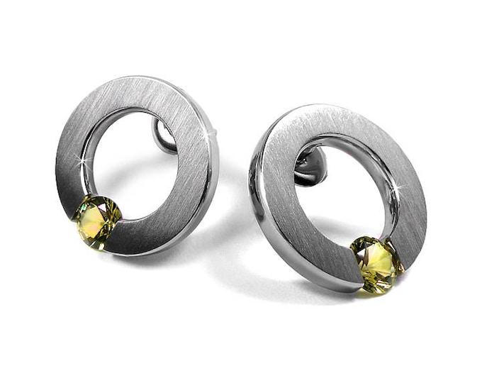 Yellow Sapphire Stud Post Tension Set Earrings Steel Stainless