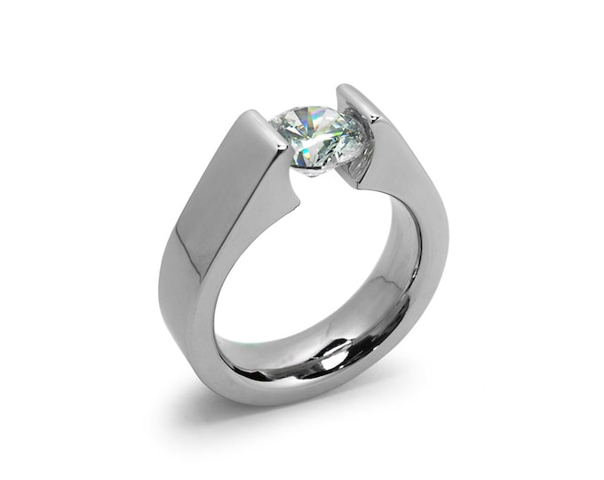 1ct, 1.5ct and 2ct White Sapphire Tension Set Steel Engagement Ring