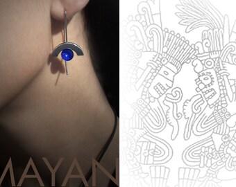 Lapis Lazuli Drop Earrings Mayan Inspired Stainless Steel Design