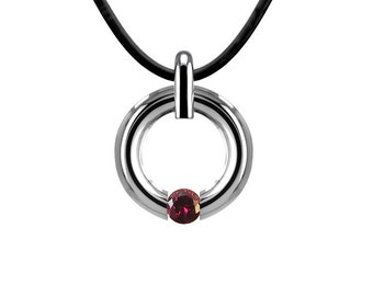 Garnet Two Tone Tension Set Necklace Stainless Steel