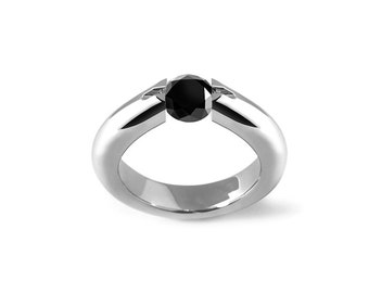 Round Black Onyx High Tension Ring in Stainless Steel