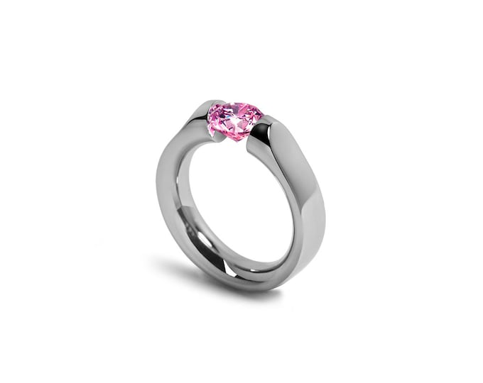 Pink Sapphire Ring Tension Set Modern Stainless Steel