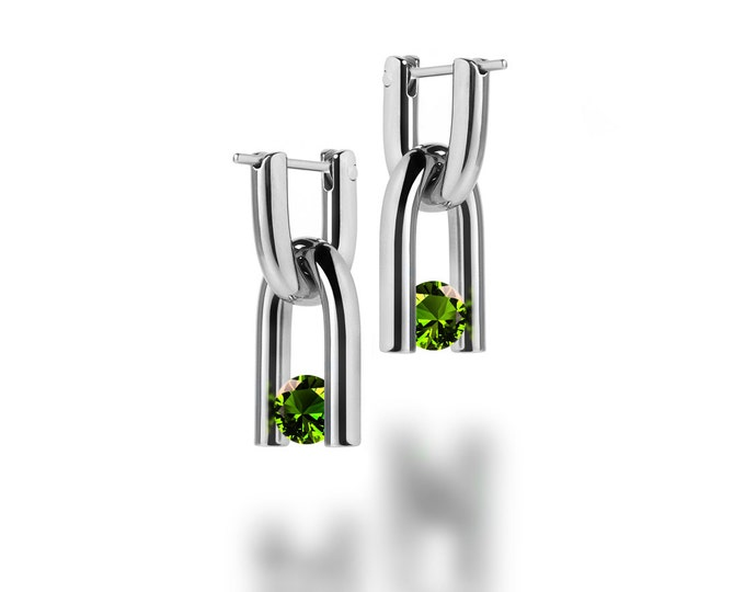 Stainless Steel U Shaped Earrings with Tension Set Peridot Interchangeable Charm