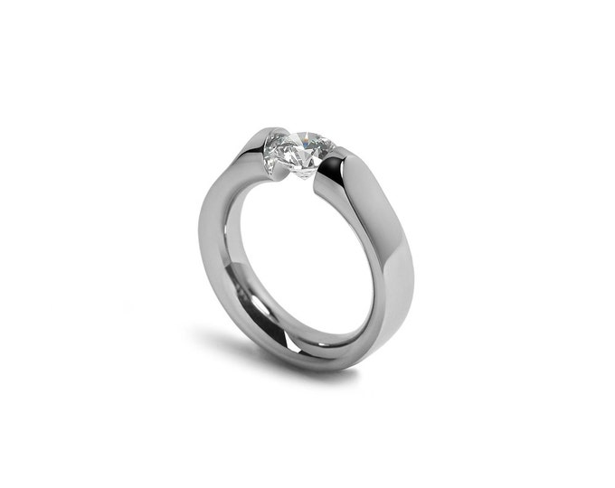 White Sapphire Tension Set Ring Comfort Fit Stainless Steel