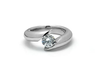 White Sapphire Tension Set Engagement Ring