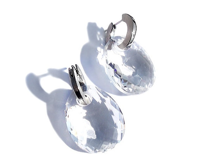 Hoop Earrings with White Creole Murano Sliding Glass Pendants