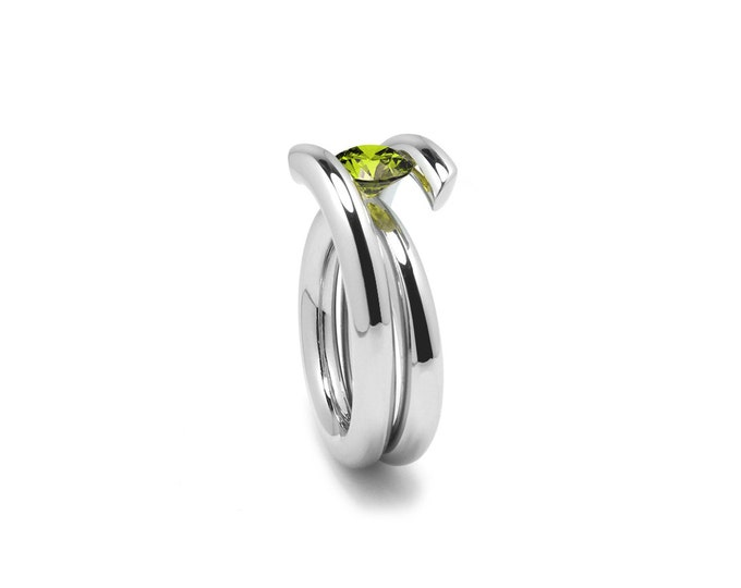 Modern Peridot High Tension Ring in Stainless Steel