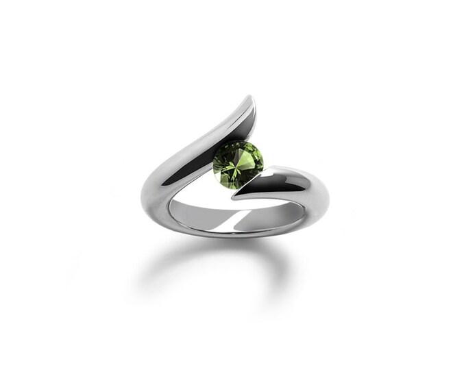 Modern Peridot Engagement Ring Tension Set Steel