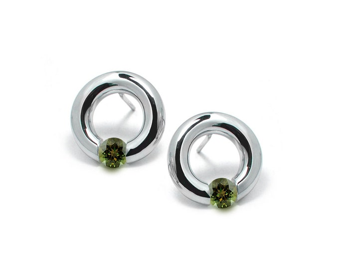 Peridot Stud Post Tension Set Circle Earrings in Steel Stainless