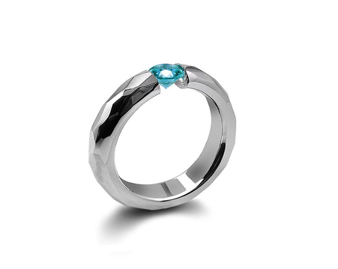 Blue Topaz Tension Mens Ring Hammered Stainless Steel Mounting