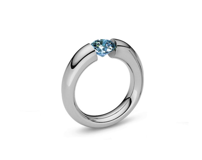 Blue Topaz Tension Set Tapered Ring in Stainless Steel