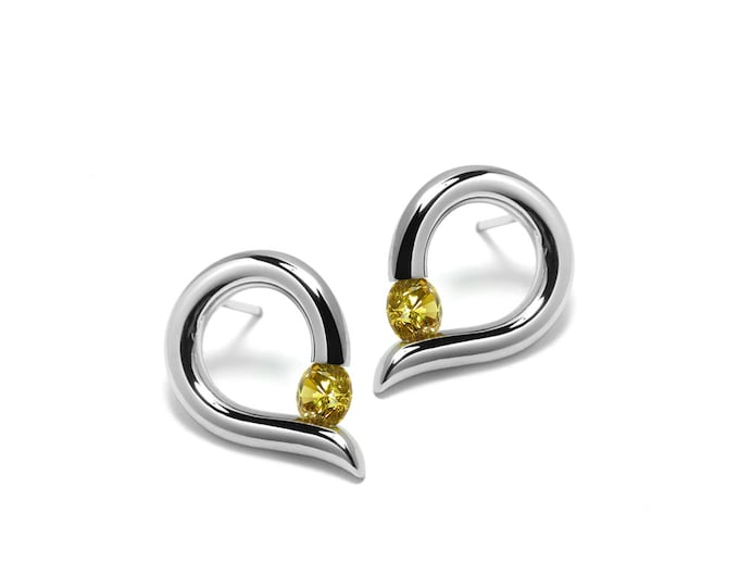Teardrop Shaped Yellow Topaz Stud Earrings Tension Set in Steel Stainless