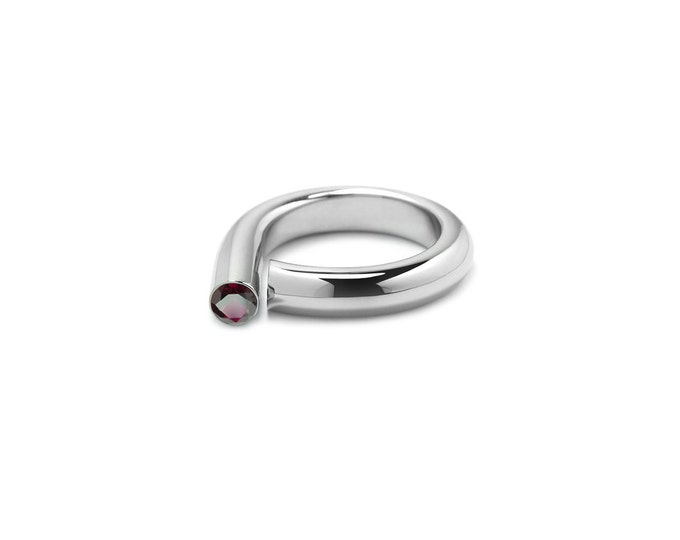 Garnet Pinky Ring in Stainless Steel