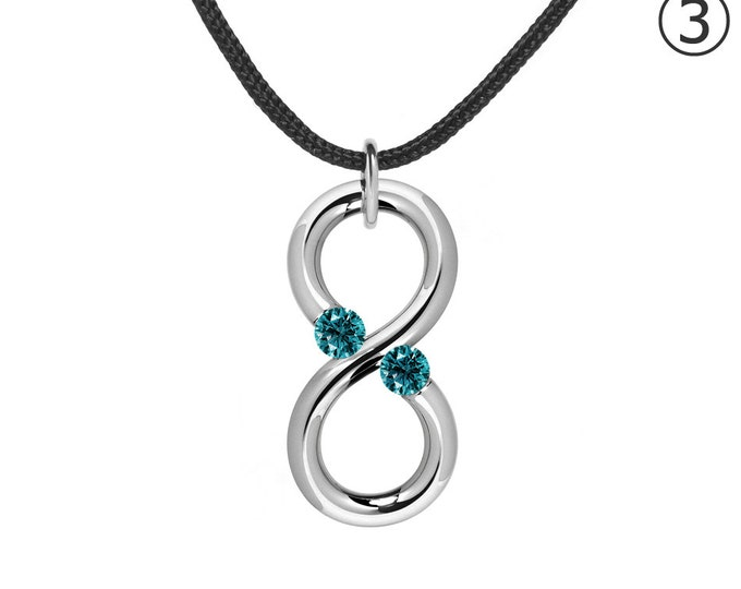 Taormina Modern Blue Topaz Infinity Cord Necklace Tension Set Steel Stainless