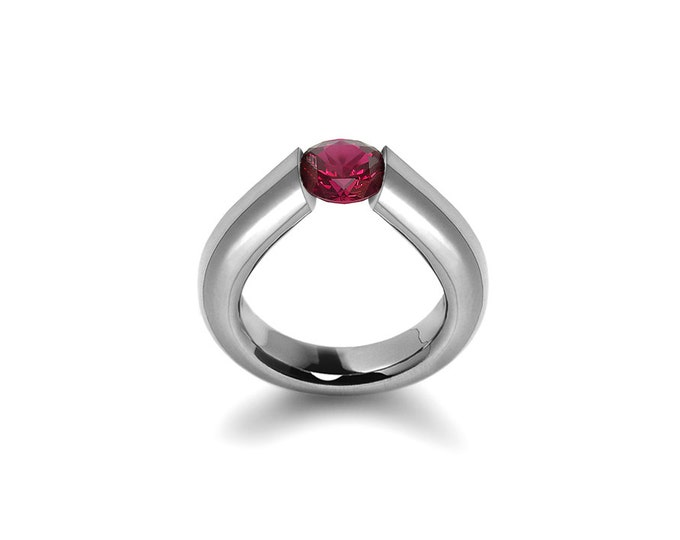 Tension Set Garnet Ring in Stainless Steel