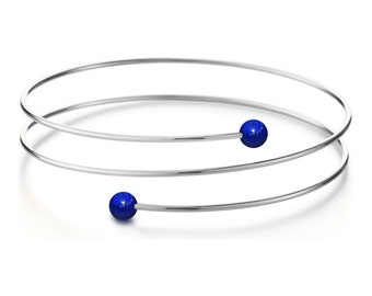 Lapis Lazuli triple wire bracelet in Stainless Steel Multi row