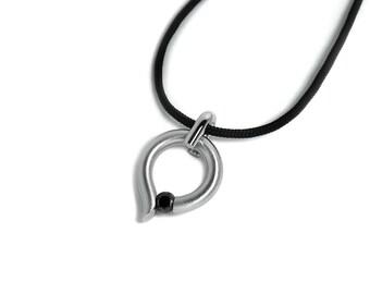 Black Diamond Tension Set pendant in Stainless Steel