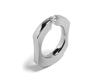 Tension Set White Sapphire Mens Ring Stainless Steel