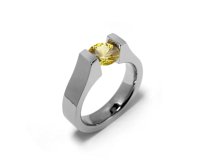 Unique Engagement Tension Ring with 2ct, 1.5ct, 1ct and 0.75 Yellow Sapphire High Setting in Stainless Steel
