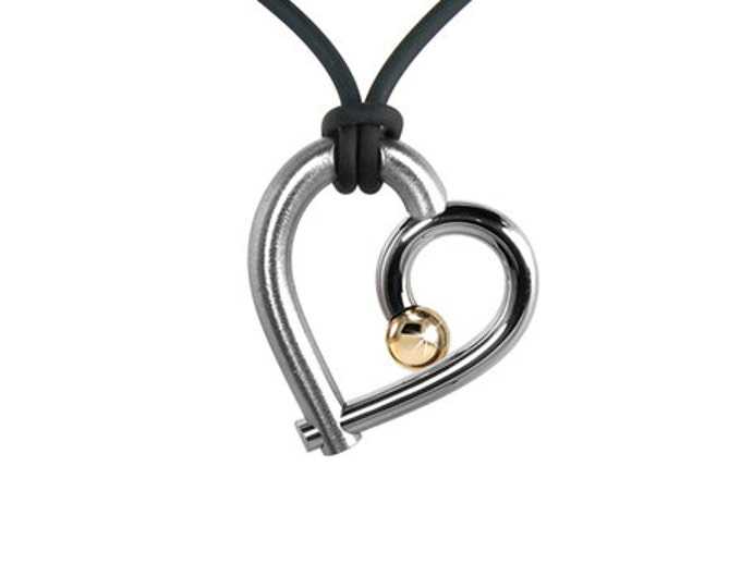Open Heart Necklace in Stainless Steel and Gold