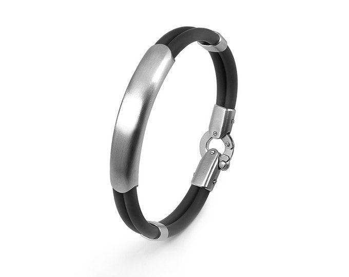 Black Rubber and Stainless Steel Men ID Bracelet by Taormina Jewelry