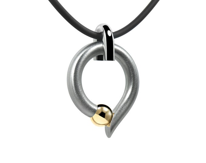 Tension Set Gold and Stainless Steel Pendant