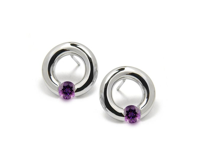 Amethyst Stud Post Tension Set Circle Earrings in Steel Stainless