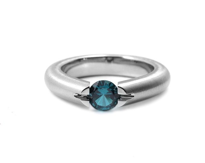 Blue Topaz Ring High Tension Set Brushed Stainless Steel