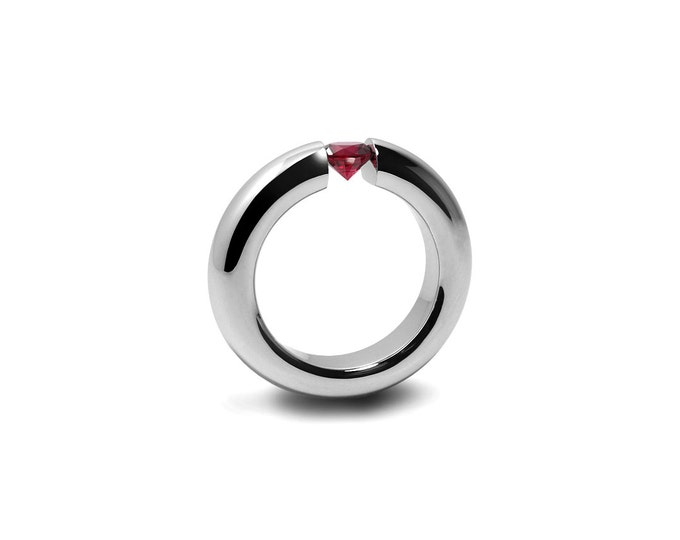 Garnet Tension Set Ring in Stainless Steel