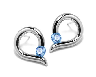 Teardrop Shaped Blue Topaz Stud Earrings Tension Set in Steel Stainless