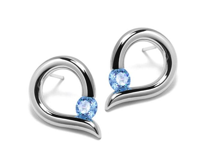 Teardrop Shaped Blue Topaz Stud Earrings Tension Set in Steel Stainless by Taormina Jewelry